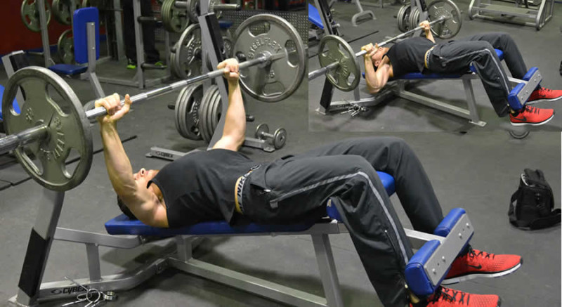 Decline Barbell Press Performed by Male Personal Trainer