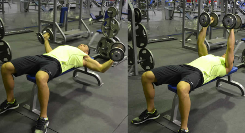 Flat Dumbbell Fly Performed by Male Personal Trainer