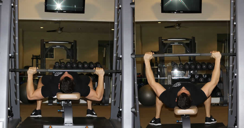 Flat Smith Machine Press Performed by Male Personal Trainer