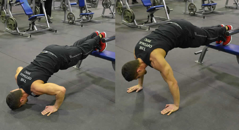 Incline Push Ups Performed by Male Personal Trainer