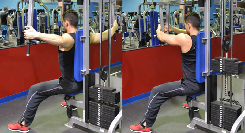 Modified Machine Pec Fly Performed by Male Personal Trainer