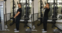Upright Cable Row Performed by Male Personal Trainer