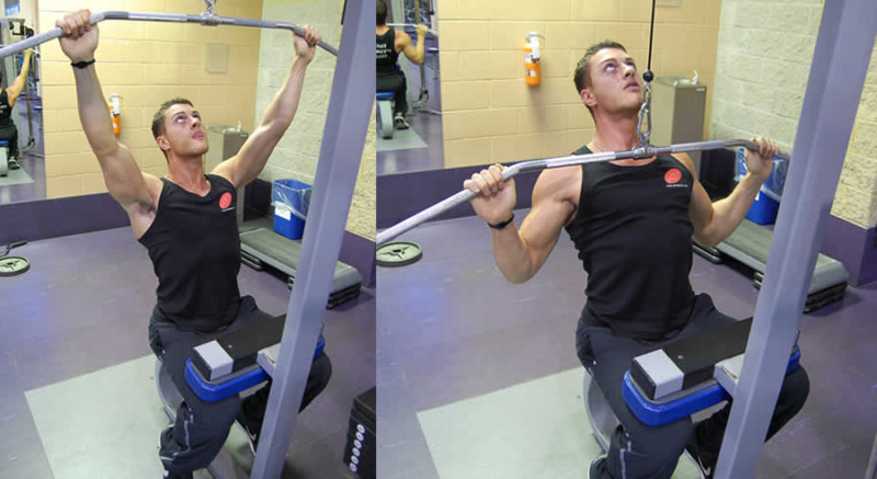 Wide Grip Pulldowns Performed by Male Personal Trainer