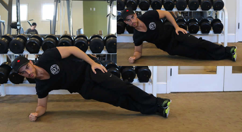 side hip thrusts performed by male personal trainer