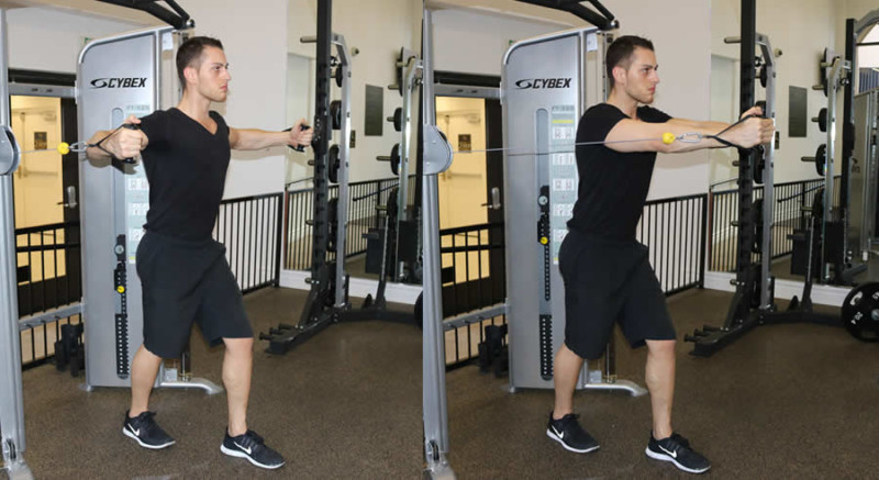 cable fly performed by male personal trainer