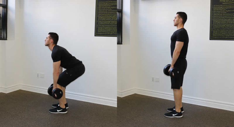 deadlift with dumbbell performed by male personal trainer