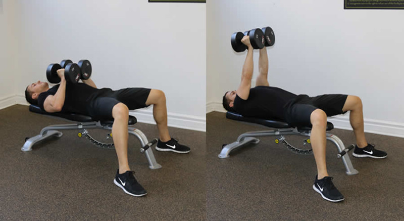 flat dumbbell squeeze press performed by male personal trainer
