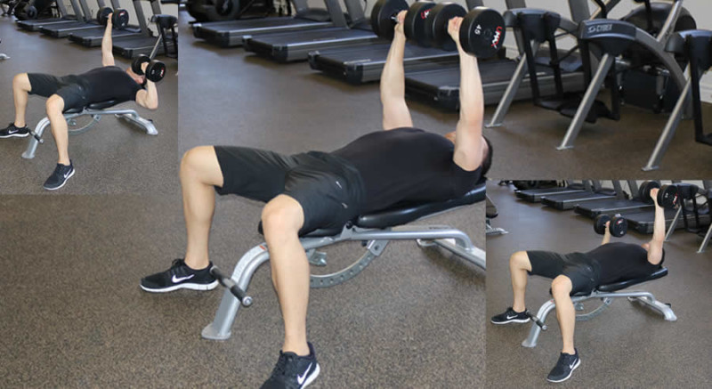 flat dumbbell press with isometric hold performed by male personal trainer