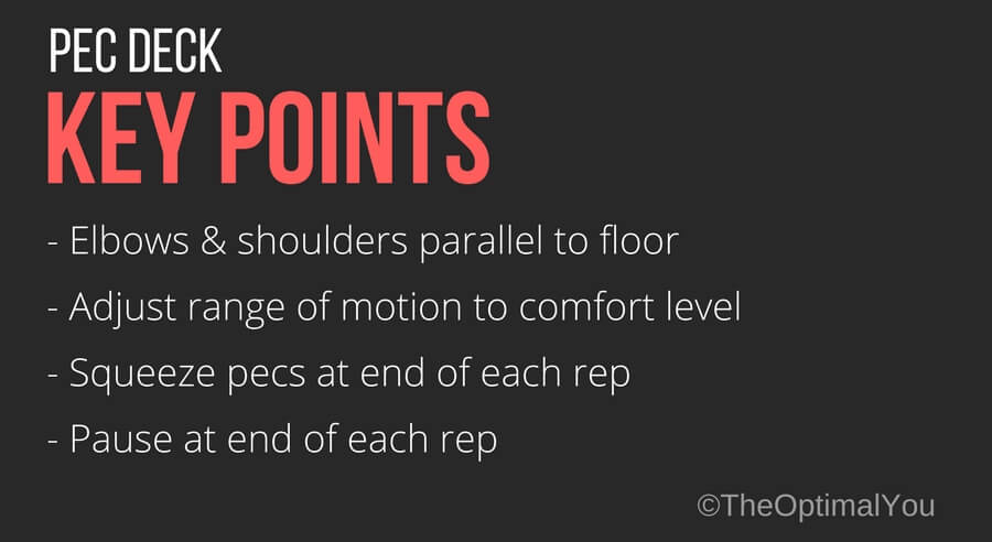 Key exercise points for the pec deck