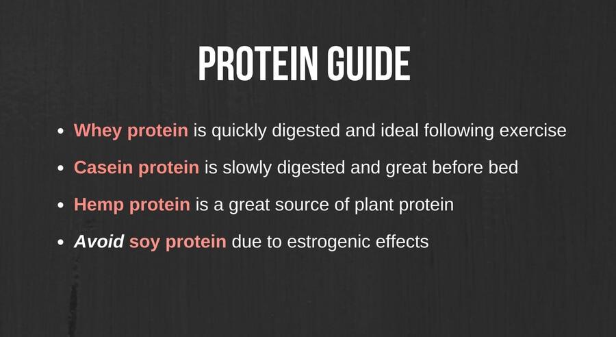 Protein types guide; whey, casein, hemp. Avoid soy.