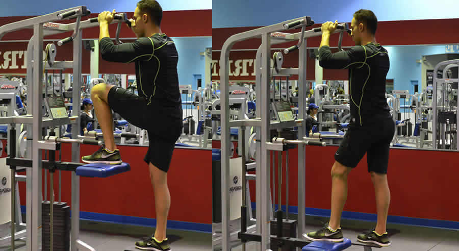 Glute Pushdown (on Assisted Pull-Up) Exercise - The Optimal You