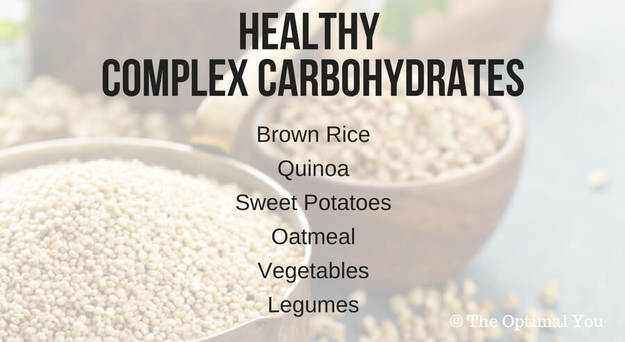 List of healthy complex carbohydrates: brown rice, quinoa, sweet potatoes, oatmeal, vegetables, legumes