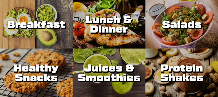 Nutrition features list: breakfast, lunch & dinner, salads, healthy snacks, juices & smoothies, protein shakes