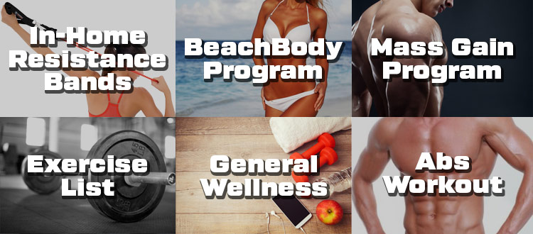 Exercise features list: in-home resistance bands, beachbody program, mass gain program, exercise list, 100s of worksouts, abs workout